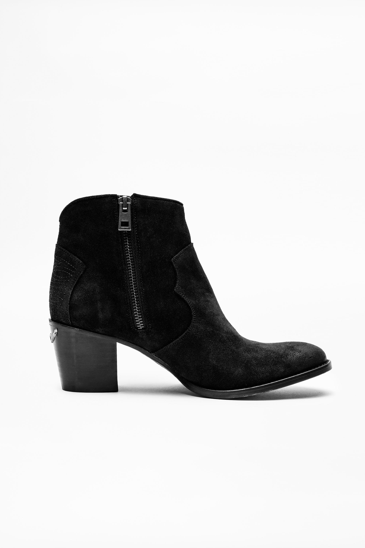 쟈딕앤볼테르 Zadig & Voltaire Molly Suede Boots,BLACK
