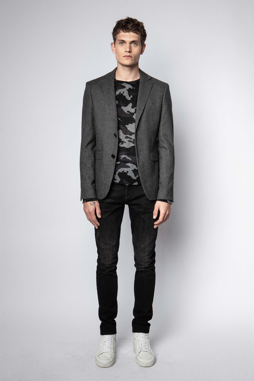 쟈딕앤볼테르 Zadig & Voltaire Viks Wool Jacket,CHARCOAL GRAY