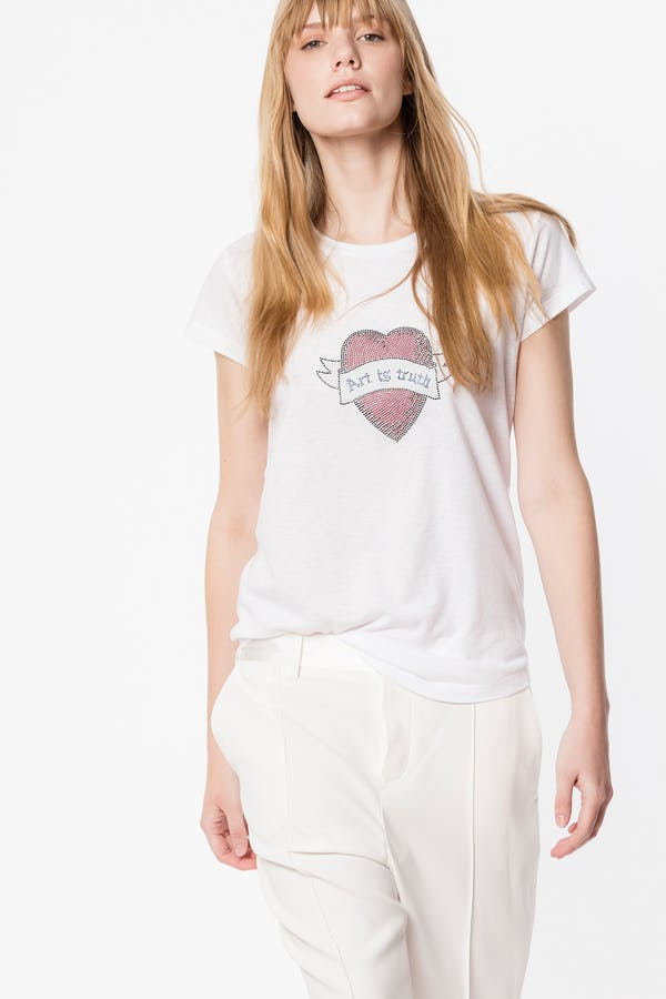 Skinny Strass Heart T-shirt