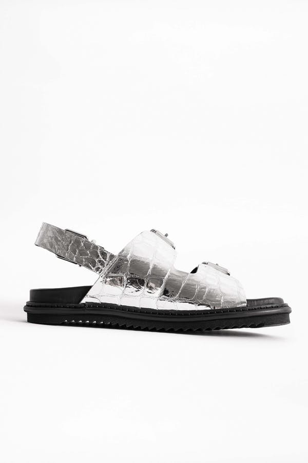 Alpha Grunge Embossed Croco Sandals