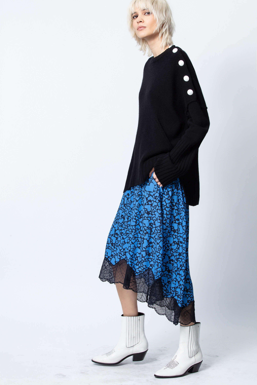 쟈딕 앤 볼테르 조슬린 하트 프린트 스커트 Zadig & Voltaire Joslin Coeur Skirt,CORNFLOWER