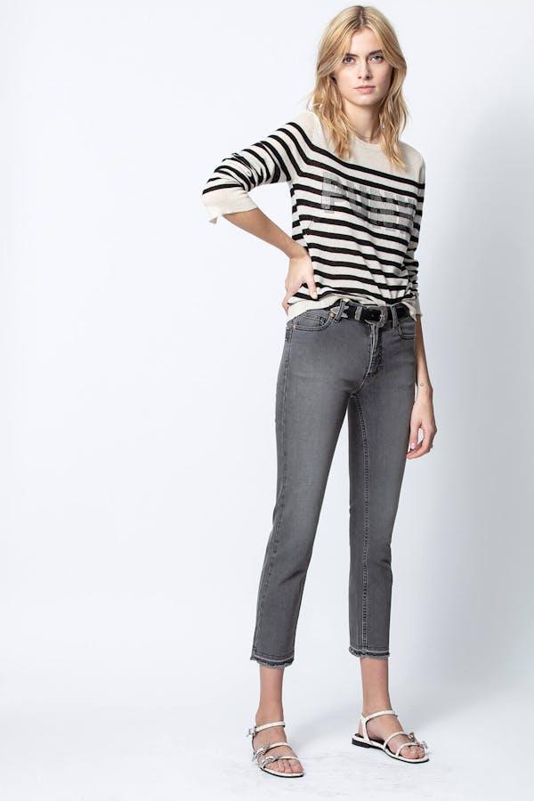 Source Stripes Punk 3D Strass Cashmere Sweater