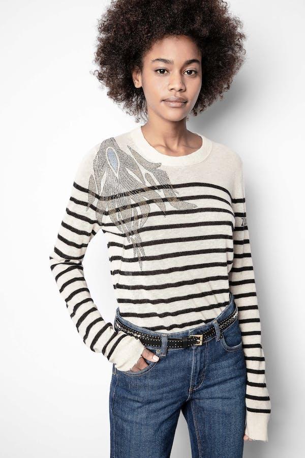 Miss Stripes Flower Cashmere Sweater
