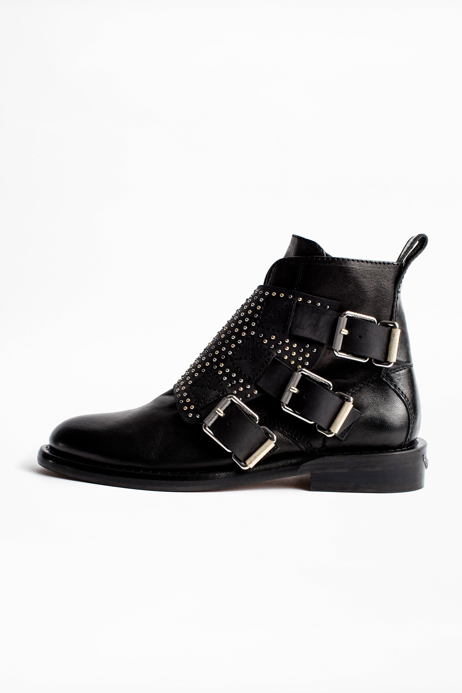 쟈딕앤볼테르 Zadig & Voltaire Laureen Flap Studs Ankle Boots,BLACK