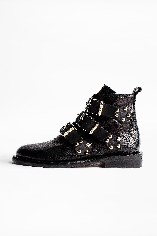 쟈딕앤볼테르 Zadig & Voltaire Laureen Buckle Studs Ankle Boots,BLACK
