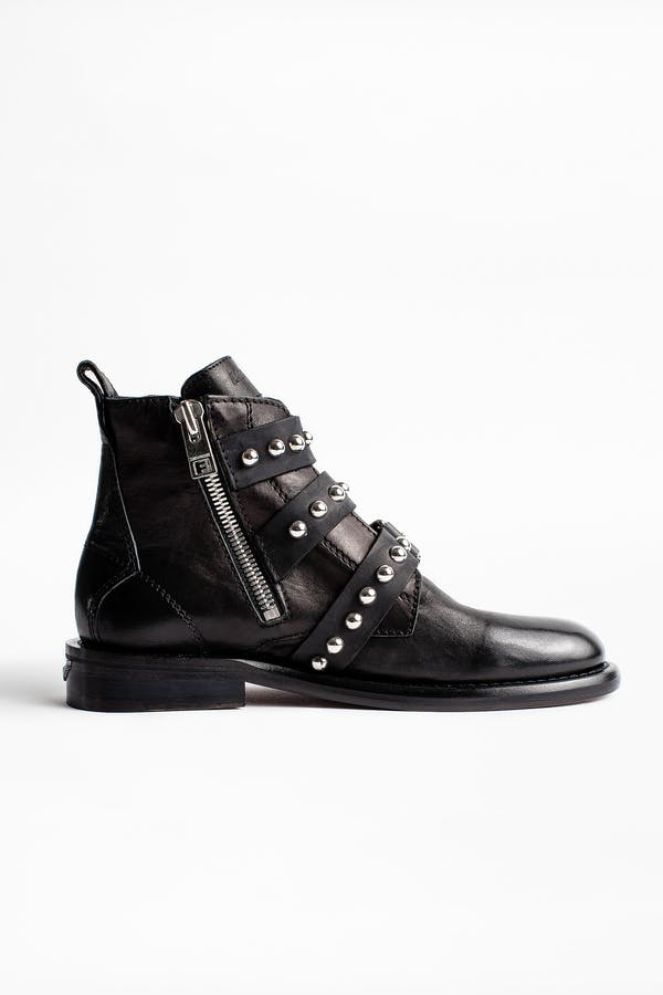 Laureen Buckle Studs Ankle Boots