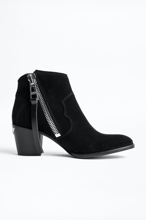 Molly Suede Zip Ankle Boots