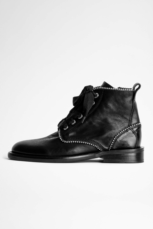 쟈딕앤볼테르 Zadig & Voltaire Laureen Roma Studs Ankle Boots,BLACK