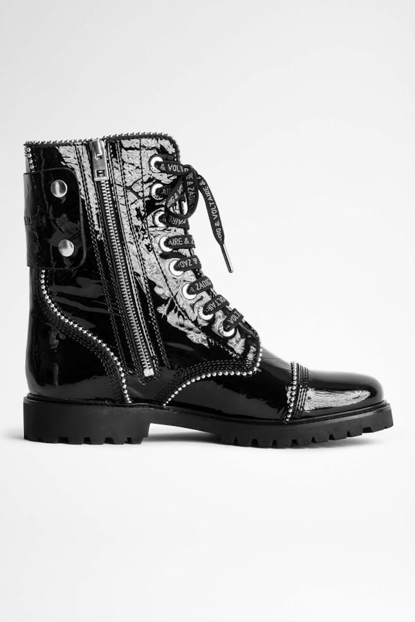 Joe Wrinkle Studs Ankle Boots