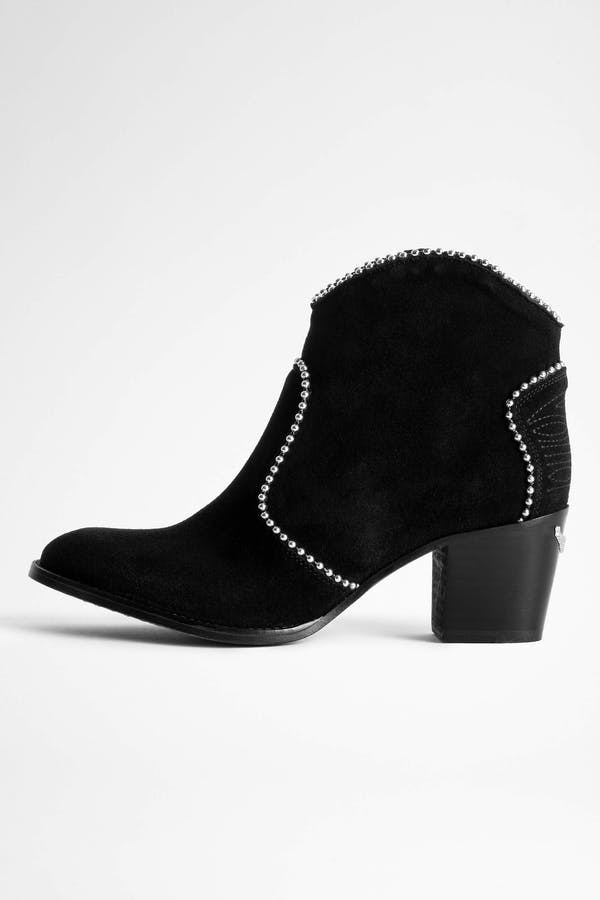 Molly Suede Studs Ankle Boots