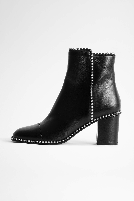 쟈딕앤볼테르 Zadig & Voltaire Lena Round Piping Ankle Boots,BLACK