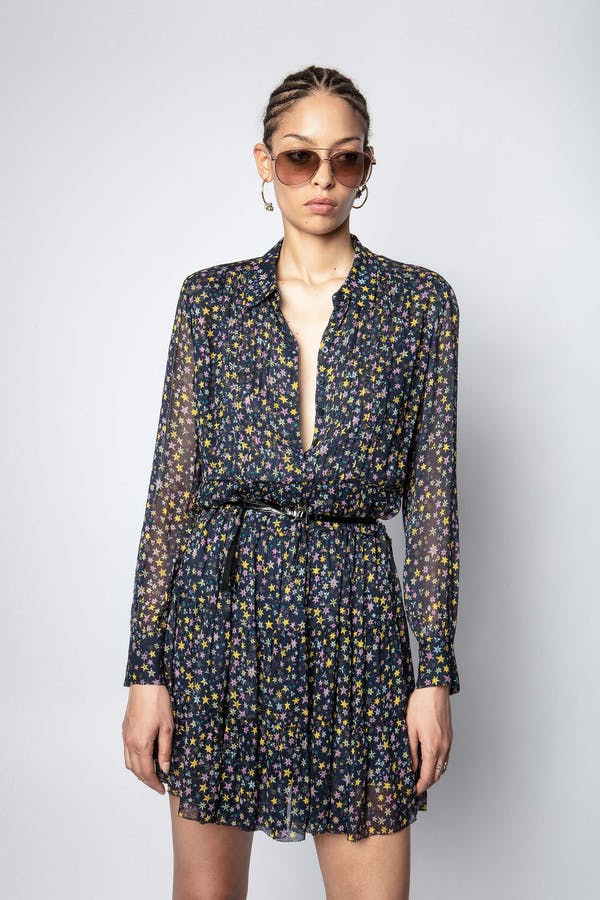 Rapidy Crinkel Print Etoiles Dress