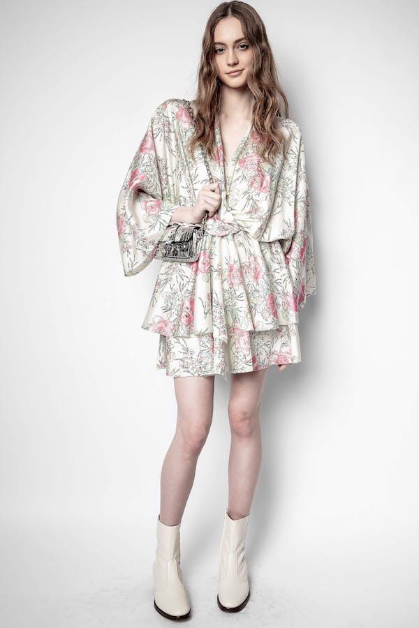 Ruffle Twill Roses Dress