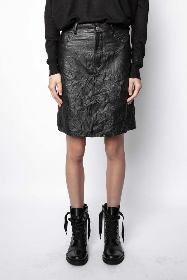 Juicer Crinkled Leather Skirt