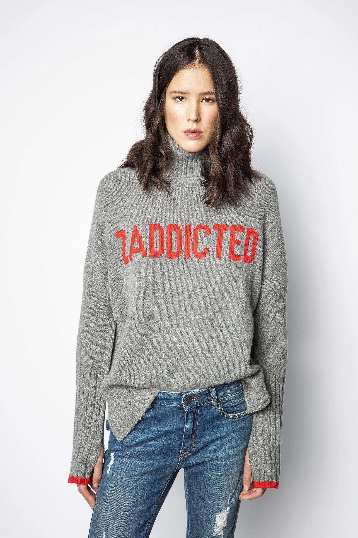 쟈딕 앤 볼테르 알마 레터링 스웨터 (이효리 착용) Zadig & Voltaire Alma Zaddicted Sweater,MOTTLED GRAY