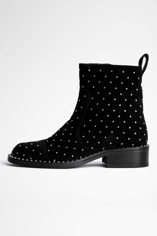 쟈딕앤볼테르 Zadig & Voltaire Empress Studs Ankle Boots,BLACK