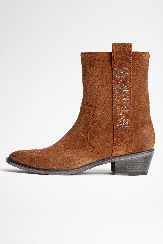 쟈딕앤볼테르 Zadig & Voltaire Pilar High Suede Ankle Boots,COGNAC