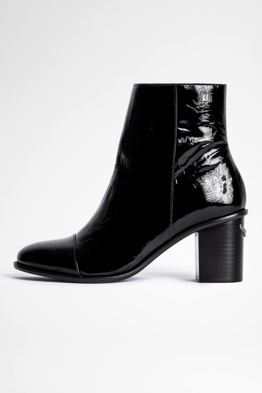 쟈딕앤볼테르 Zadig & Voltaire Lena Wrinkle Patent Boot,BLACK