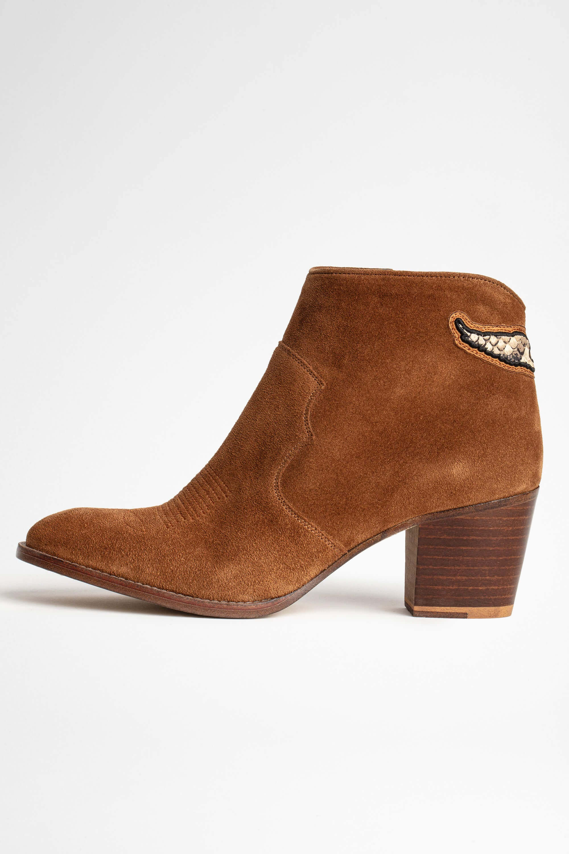 쟈딕앤볼테르 Zadig & Voltaire Molly Suede Ankle Boots,COGNAC