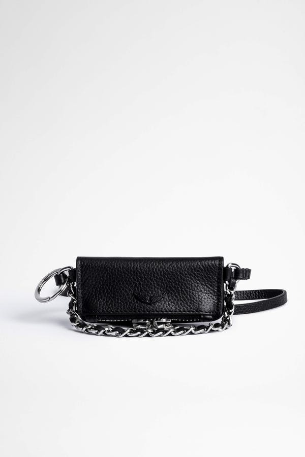 Grained Leather Grigri Charm Rock Clutch