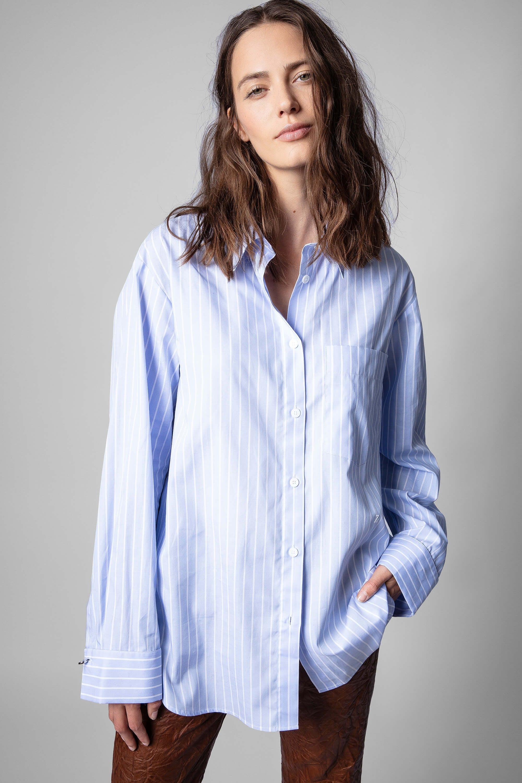쟈딕앤볼테르 Zadig & Voltaire Morning Raye Shirt,BLUE