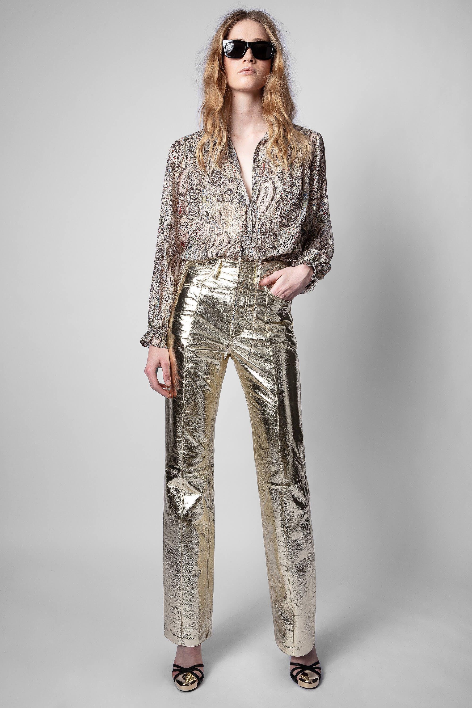 쟈딕앤볼테르 Zadig & Voltaire Poete Gold Foil Pants,GOLD
