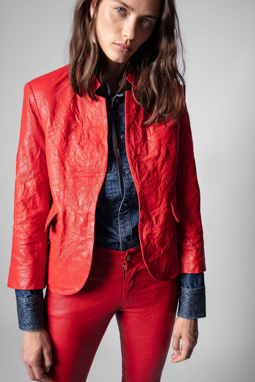 쟈딕앤볼테르 Zadig & Voltaire Verys Crinkle Leather Blazer,POPPY