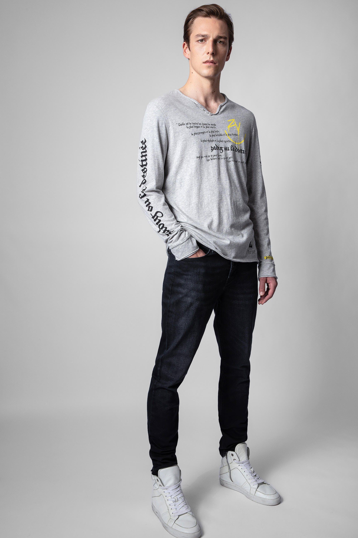 쟈딕앤볼테르 Zadig & Voltaire Monastir T-shirt,MOTTLED GRAY