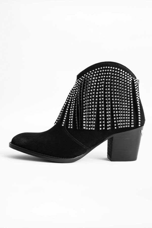 Molly Strass Fringe Ankle Boots