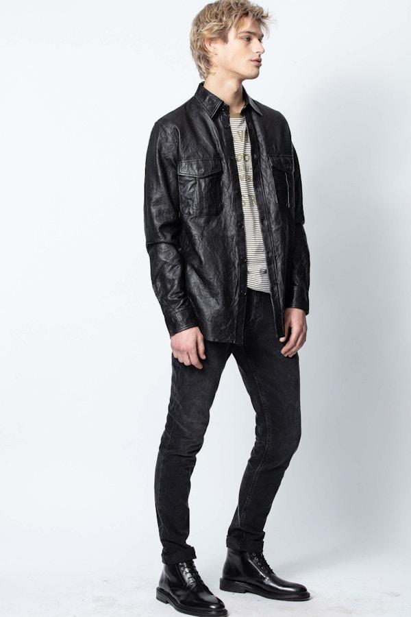 Taskah Crinkle Leather Shirt