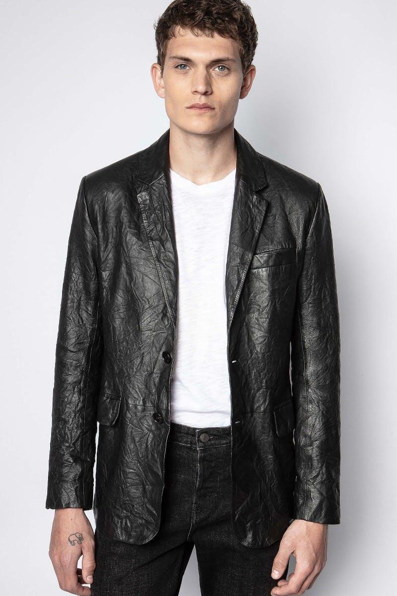 쟈딕앤볼테르 Zadig & Voltaire Valfried Crinkle Leather Jacket,BLACK
