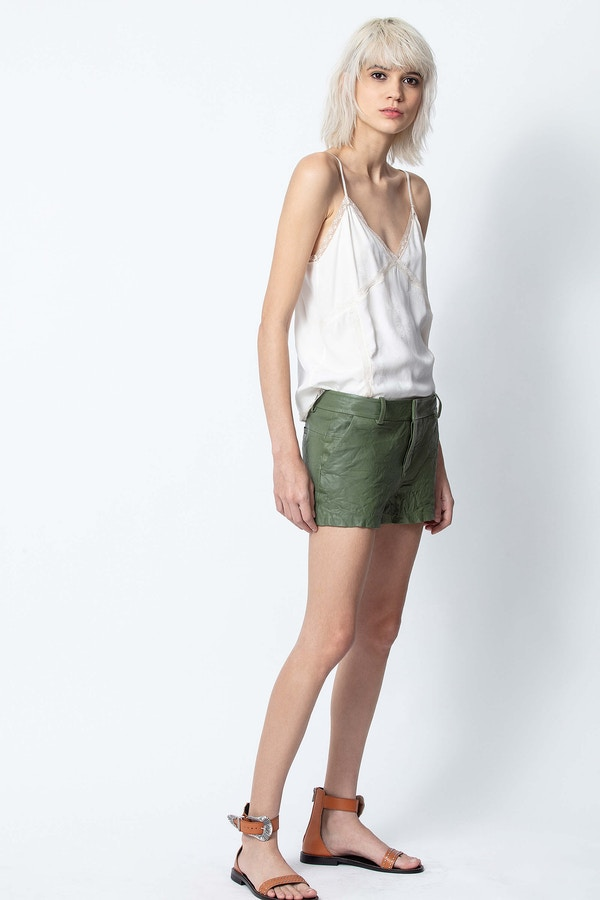 Simio Crinkle Leather Shorts