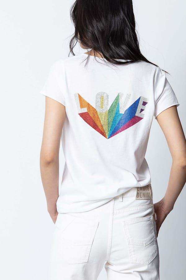 Love Rainbow Strass Henley T-shirt