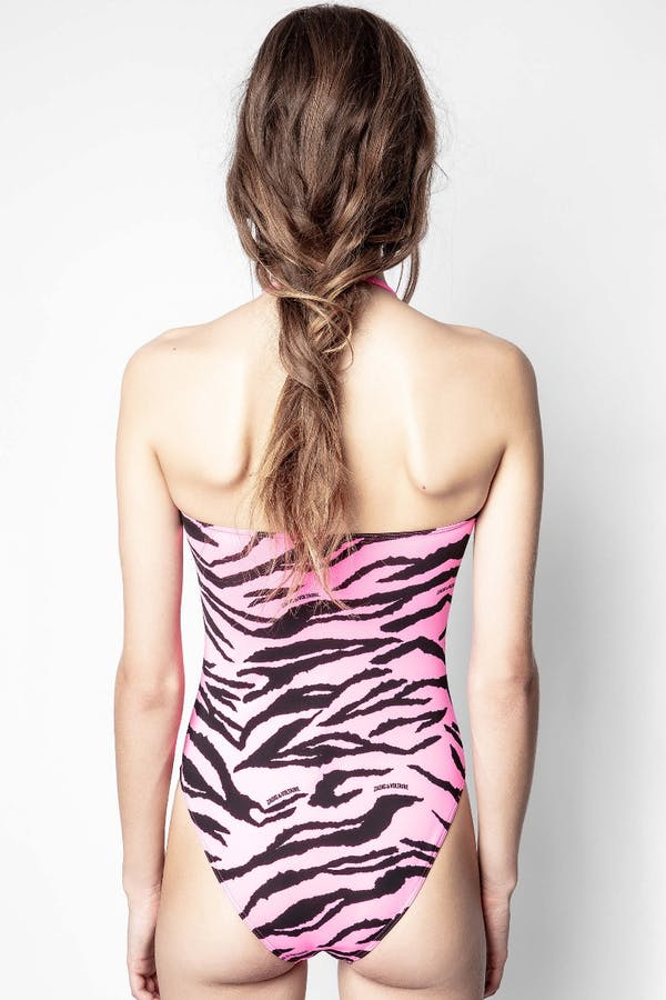Pink Tiger Print One Piece Swimsuit
