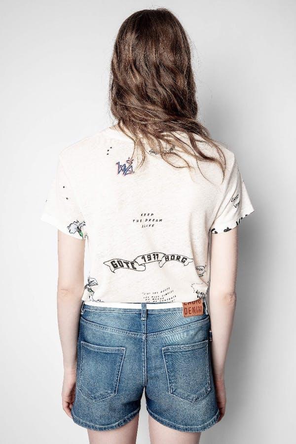 Zoe Tattoo Linen T-shirt