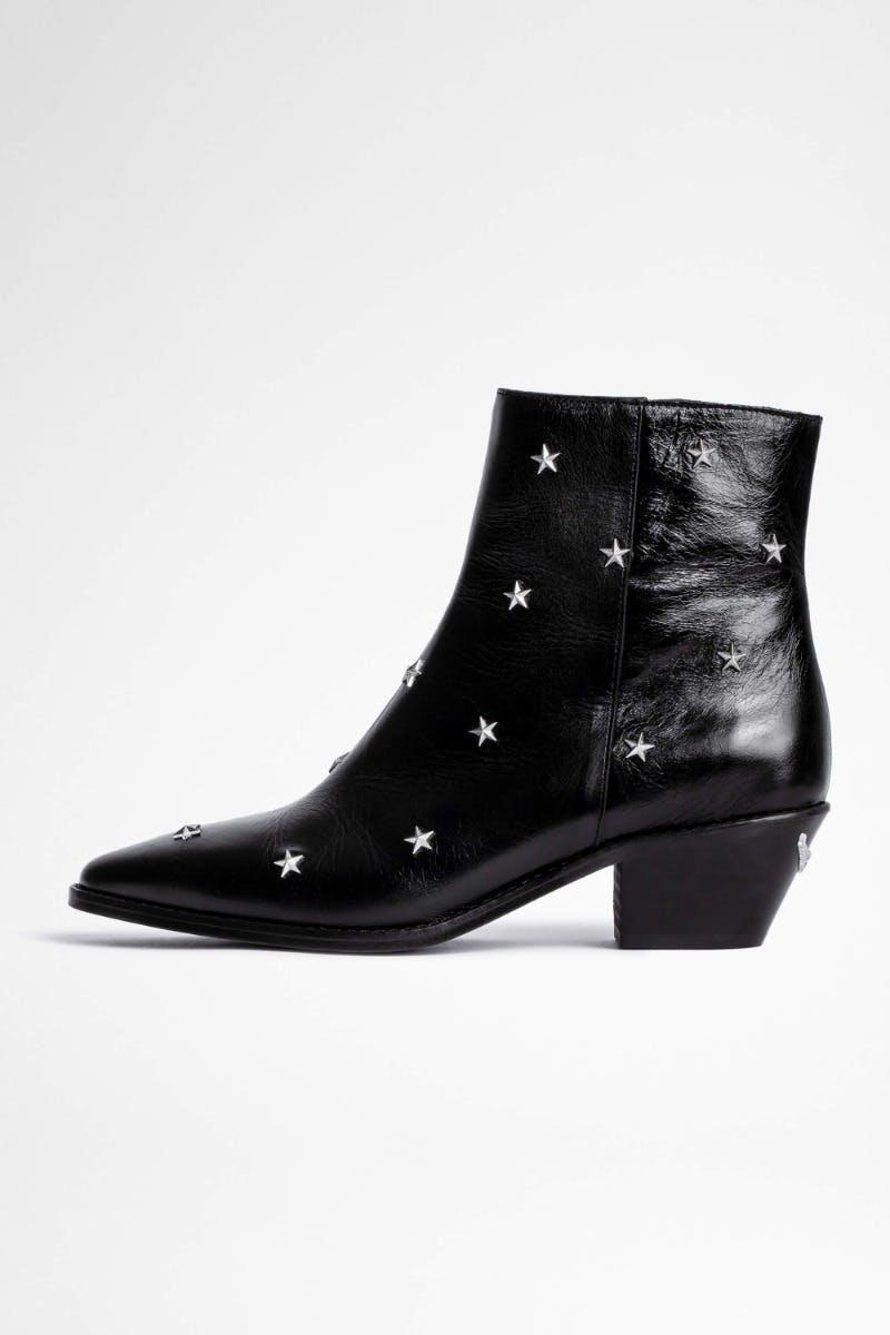 쟈딕앤볼테르 Zadig & Voltaire Tyler Vintage Stars Ankle Boots,BLACK