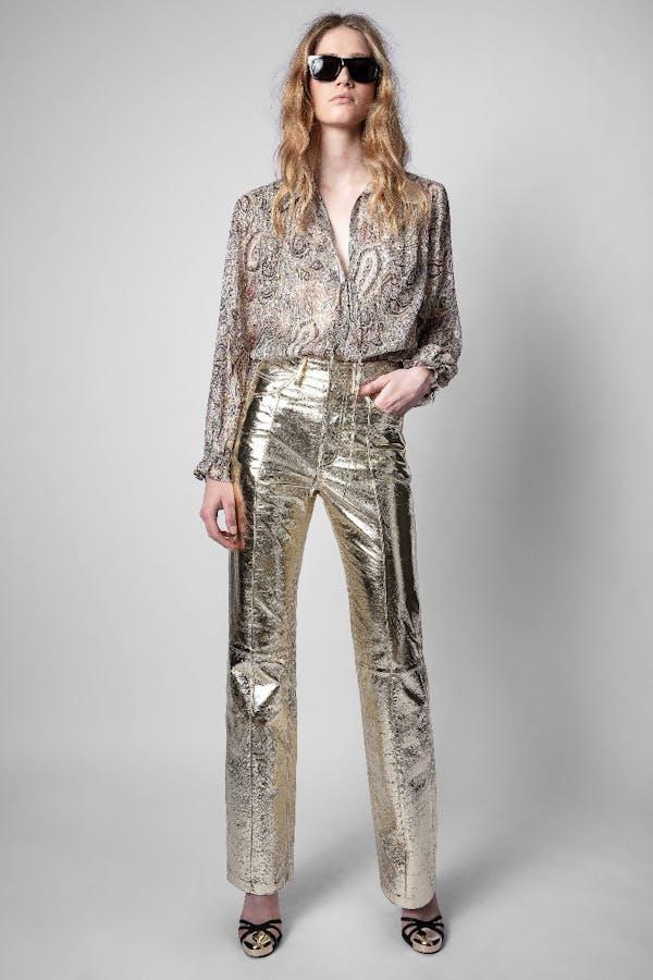 Poete Gold Foil Pants