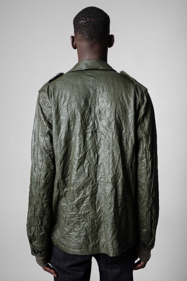 Kido Crinkle Leather Blazer