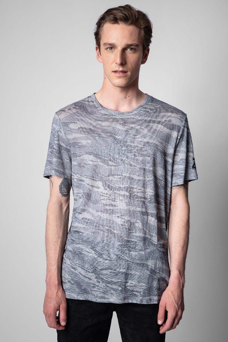 쟈딕앤볼테르 Zadig & Voltaire Ted Linen T-shirt,MOTTLED GRAY