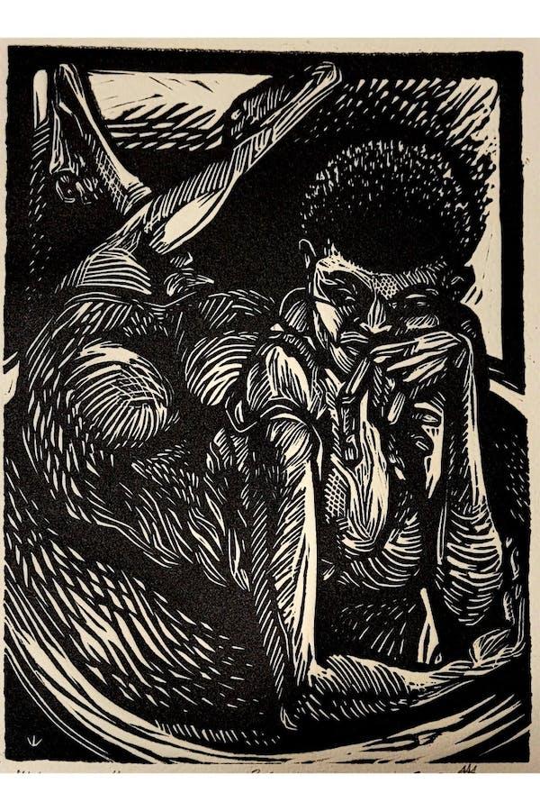 Yemeya, Linoleum Cut, 6