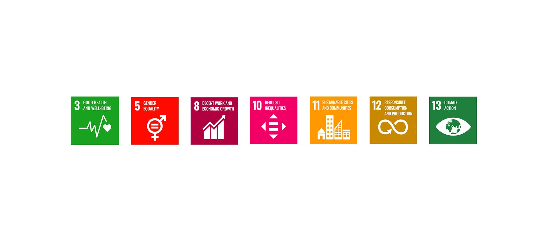 Voltaire program - 7 of the United Nations Sustainable Development Goals: Good Health and well-being, Gender equality, Decent work and economic growth, reduced inequalities, sustainable cities and communities, Responsible consumption and production and Climate action