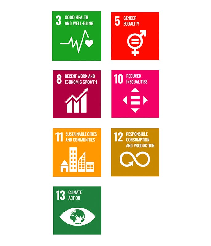 Voltaire program - 7 of the United Nations Sustainable Development Goals: Good Health and well-being, Gender equality, Decent work and economic growth, reduced inequalities, sustainable cities and communities, Responsible consumption and production and Climate action mobile version