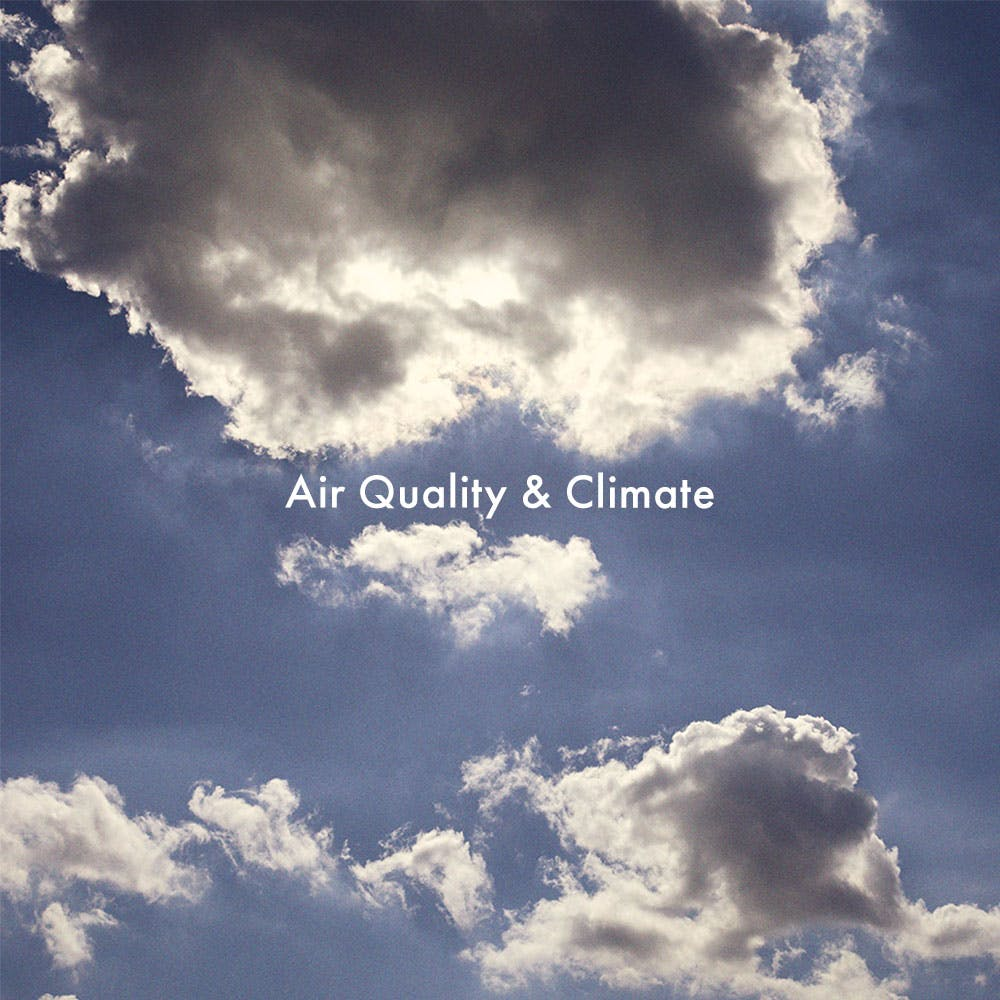 Banner redirecting the user to a new page regarding air quality and climate